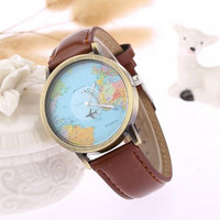 Unisex Traveling Around the World Leather Map Watch