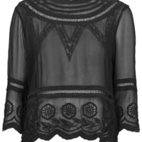 Cornelli Embroidered Tunic - Black