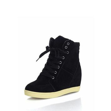 High Top Lace Up Wedge Sneakers