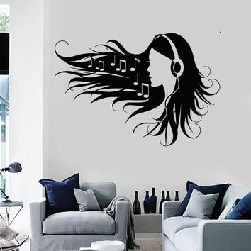 Wall Stickers Vinyl Decal Teen Girl in Headphones Music Rock Pop Girl (ig1563)