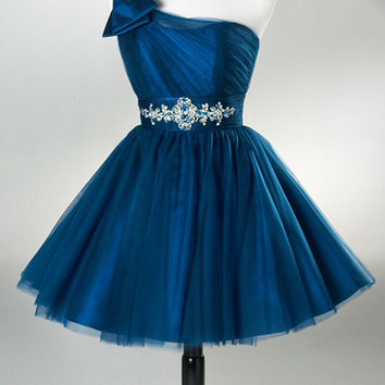 Homecoming Dress,Blue One Shoulder Bowknot Chiffon Sweet Short Prom Dress