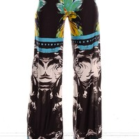 TEAL/BLACK FLOWER PRINT WAIST BAND STRETCHY COMFY CAUSUAL PALAZZO PANTS