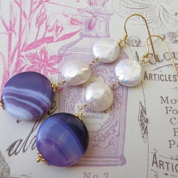 Purple agate earrings with white keshi pearls - sterling silver 925 gold plated 18 K - uk gemstone jewelry - jewels Made in Italy