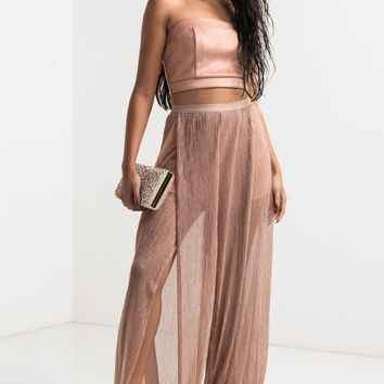 High Elasticated Waist Lined Short Metallic Glimmer Split Pant in Rose Gold