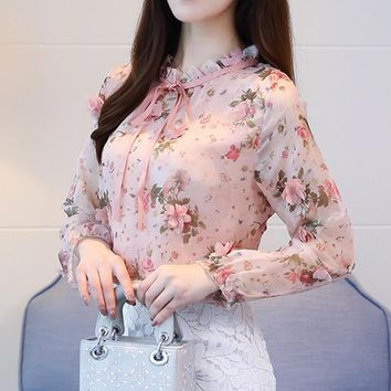 Spring Chiffon Shirt Blouse Fashion Vintage Floral Printed Stand Collar Bow Female Blouse Long Sleeve Lady Shirt Top XXL