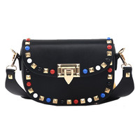 Spring Autumn New Fashion Rivet Mini PU Leather Crossbody Bags For Women's Famous Brand Designer Handbags Ladies Shoulder Bags
