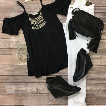 Day Down Town Cold Shoulder Top: Black