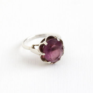 Vintage Simulated Amethyst Ring - Sterling Silver Signed Sarah Coventry Adjustable Purple Glass Stone February Birthstone Statement Jewelry