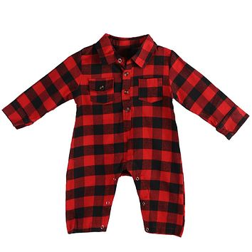 Plaid Baby Clothes Long Sleeve Lapel Baby Romper Newborn Costume Spring Baby Boys Clothes Red