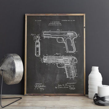 Browning No 2, Gun Art Print, Gun Printable, Gun Wall Decor, Gun Poster, Gun Art Patent,Browning Art Print,Browning Pistol, INSTANT DOWNLOAD