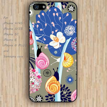 iPhone 5s 6 case Cartoon snail shells flowers colorful phone case iphone case,ipod case,samsung galaxy case available plastic rubber case waterproof B552