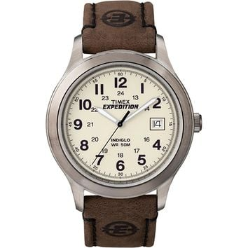 Timex Expedition Metal Field Full-Size Watch - Creme Dial-Brown Leather [T49870JV]