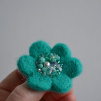 Little Needle Felted Brooch Turquoise Wool Felt Flower,Small Felt Flower Pin,Flower Brooch, Felted Flower,Corsage Brooch,Woolen Brooch