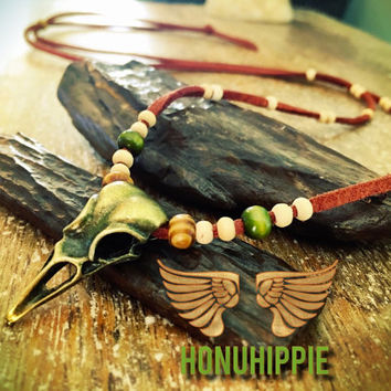 Bronze bird raven skull necklace, boho hippie tribal jewelry