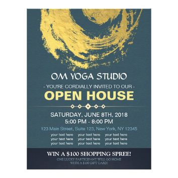 Blue & Gold YOGA Massage Therapy Studio Open House Flyer