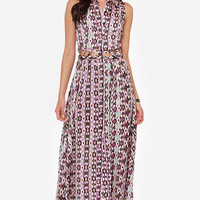 My Fun and Only Purple Print Maxi Dress