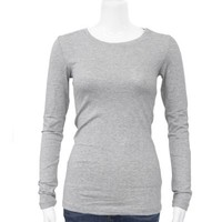 Grey Ladies Crew Neck Long Sleeve T-Shirt