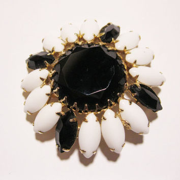 Milk Glass and Black Glass Bead Brooch Vintage Pin Juliana Style