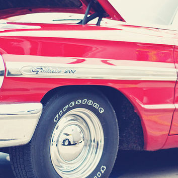 Ford Galaxie 500 Classic Car in Cherry Red - 11x14 Fine Art Photography Print - Car Show Masculine Teen Boy Bedroom Home Decor Photo