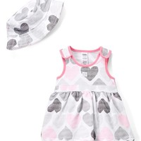 Gray & Pink Heart Skirted Bodysuit & Bucket Hat - Infant