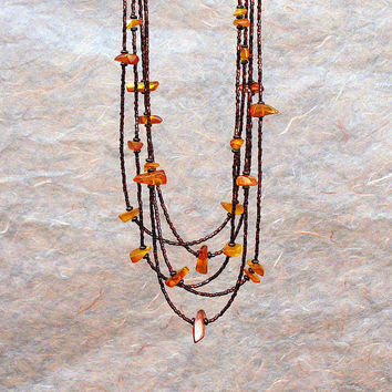 Long Amber Multi Strand Necklace, Urban Chain Necklace, Layered Beaded Necklace, Genuine Yellow Orange Amber Multistrand, OOAK
