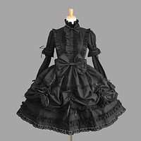 Long Sleeve Knee-length Black Cotton Gothic Lolita Dress with Lace Alternative Measures - Brides & Bridesmaids - Wedding, Bridal, Prom, Formal Gown