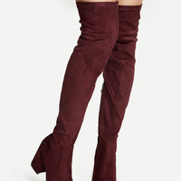 Burgundy Faux Suede Point Toe Over The Knee Boots