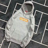 """Supreme"" Popular Women Men Loose Letter Embroidery Long Sleeve Hoodie Pullover Sweatshirt Top Sweater Grey I-CR-CP-WM-YD"