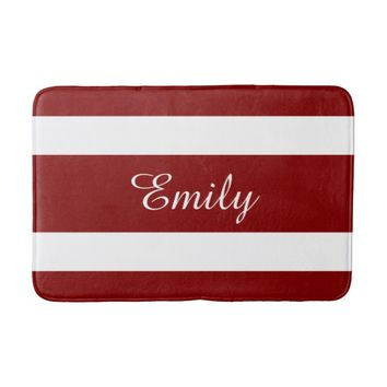 Red And White Stripes Personalized Name Bath Mats