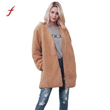 Women Warm Faux Fur Long Sleeve Jacket Coat Solid Waistcoat Outerwear fur abrigo mujer bontjas women winter coat bomber casaco