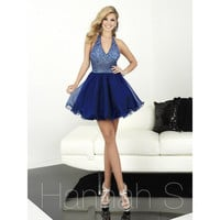 Sexy V Neck Navy Blue Homecoming Dresses Fashion Chiffon With Beaded Backless Short Red Semi Formal Dresses Party Gown