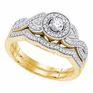 10k Yellow Gold Womens Round Diamond Halo Woven Twist Bridal Wedding Engagement Ring Set 3/8