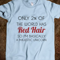 red hair majestic unicorn kids tee-shirt