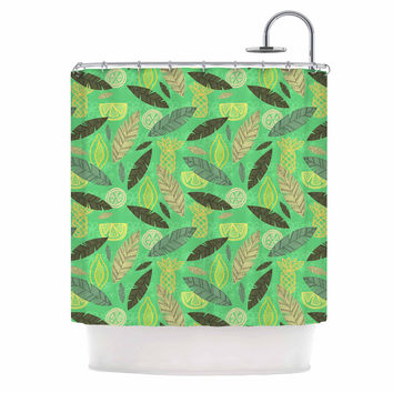 """Jane Smith """"Tropical Fruits"""" Green Pattern Shower Curtain"""