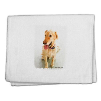 "Golden Retriever Watercolor 11""x18"" Dish Fingertip Towel"