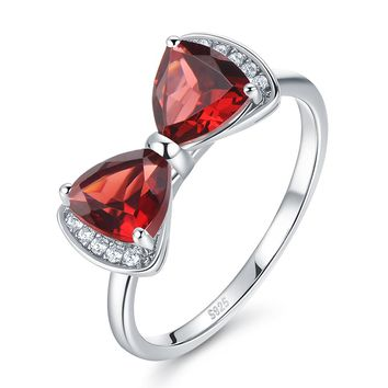 The Mermaid 1.75ct Genuine Natural Red Garnet Sterling Silver Bowknot Ring