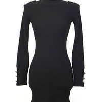 Black Epaulet Design Long Sleeve Knitted Mini Dress