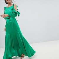 ASOS Ruffle Sleeve Maxi Dress with Cold Shoulder at asos.com