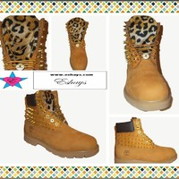 Custom Cheetah Leopard Spiked Timberland with Gold Chain Button