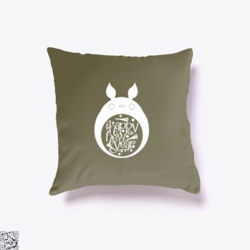 Happy Totoro Year, New Year Throw Pillow Cover
