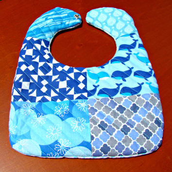 True Blue Geometric Whales Quilted Baby Bib