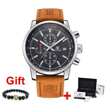 Benyar Men Watch Top Brand Luxury Male Leather Quartz Chronograph Military Waterproof Wrist Watch Men Sport Clock relojes hombre