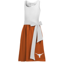 Texas Longhorns Youth Babydoll Bowtie Dress - White/Burnt Orange