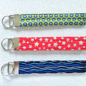 Key Fob Wristlet, Keychain, Key Chain in Green, Red, Blue