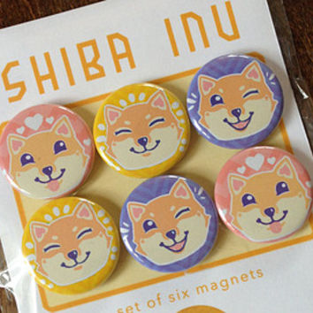 shiba inu magnets - set of 6