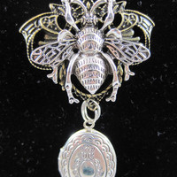 Silvery Locket with Bee and Filigree Charm and Silvery Double Link Chain