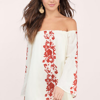 BOHO BABE EMBROIDERY SHIFT DRESS