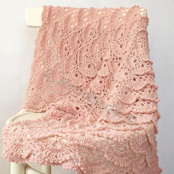 Dusty Pink Lace Shells Crochet Newborn Baby Blanket Christening Baptism Baby Shower Nursery Decor Baby Boy Girl Gift Baby Keepsake
