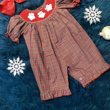 2018 Christmas Smocked Plaid Santa Romper