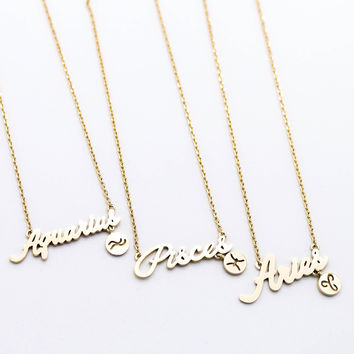 for item zodiac silver star aquarius constellation necklace gold gift sign friend